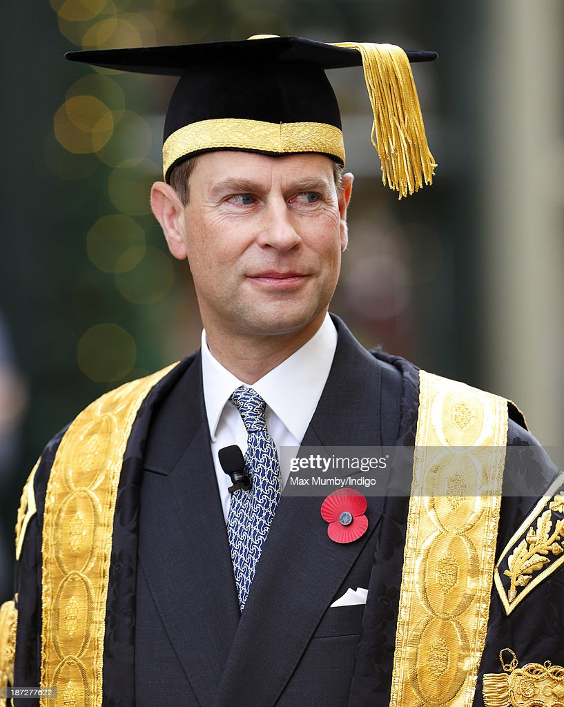 Prince Edward, Earl of Wessex takes part in a procession after being installed as Chancellor of the University of Bath during a service at Bath Abbey on November 7, 2013 in Bath, England.