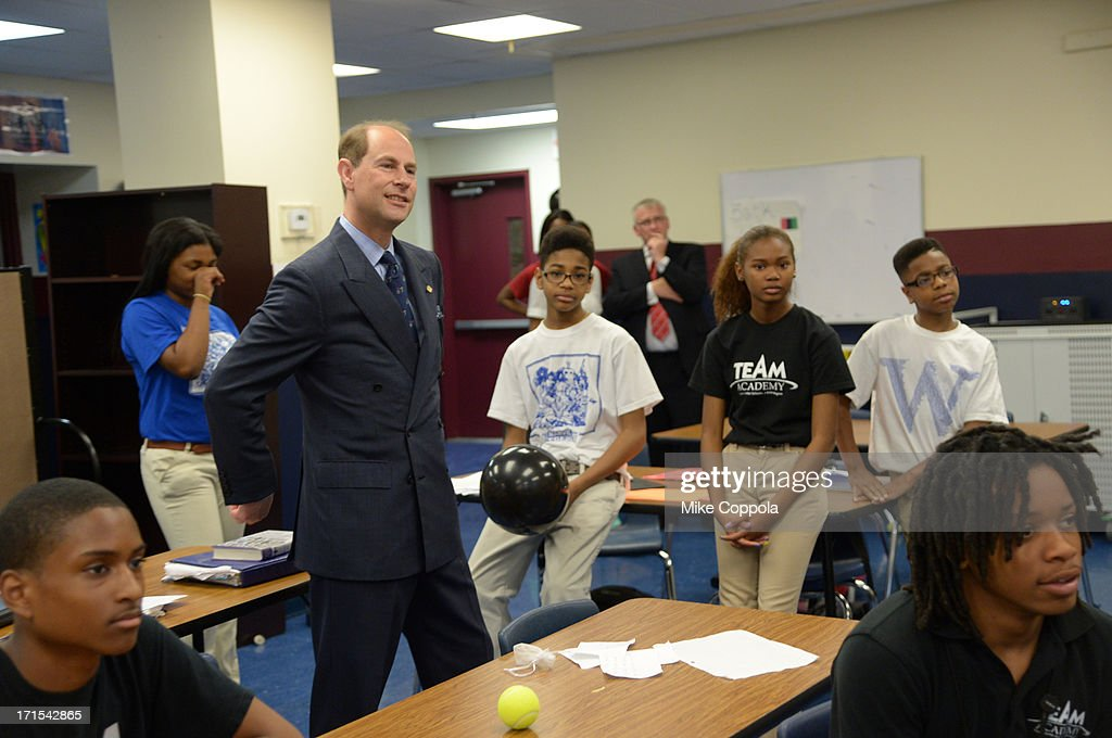 Prince Edward, Earl of Wessex visits the TEAM Academy on May 22, 2013 in Newark City.