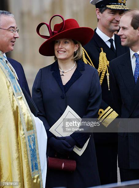 Prince Edward Earl of Wessex with his pregnant wife Sophie Countess of Wessex at a service of thanksgiving at Westminster Abbey to celebrate the...