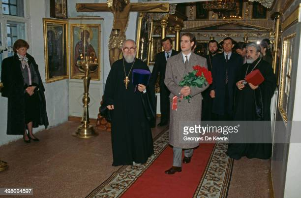Prince Edward Earl of Wessex with Russian Orthodox priests during a visit to Moscow Russia 17th April 1989