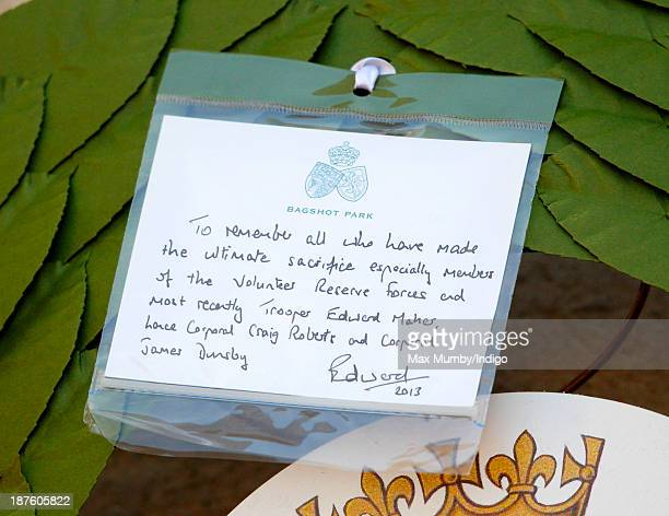 Prince Edward Earl of Wessex's hand written note on his wreath which he laid at the Cenotaph during the annual Remembrance Sunday Service on November...