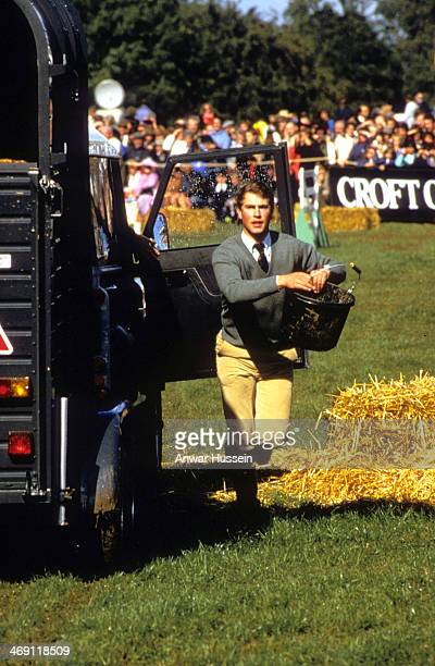 Prince Edward helps out during Gatcombe Park Horse Trials on September 22 1984 in Gatcombe England