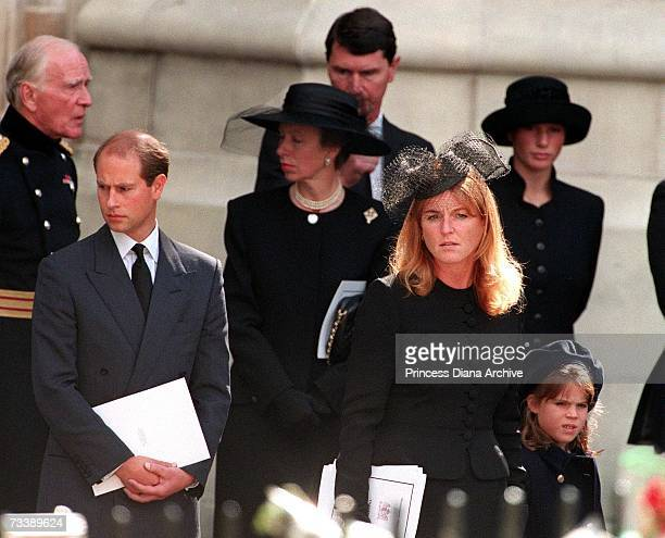 Prince Edward Princess Anne the Duchess of York and her daughter Eugenie leaving Westminster Abbey after the funeral service for Diana Princess of...
