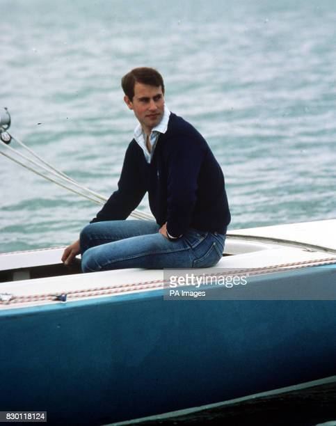 Prince Edward relaxes aboard the British yacht Aquavit off Cowes during the annual regatta