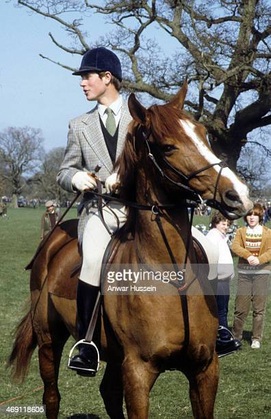 Prince Edward rides his horse during Badminton Horse Trials on April 1 1983 in Badminton England