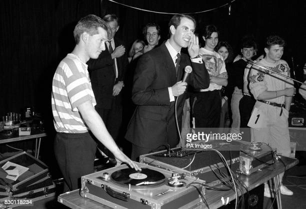 HRH Prince Edward takes over from DJ Andi Bird at a 24 hour sponsored disco dance in Basildon Monies raised will be shared between local youth group...