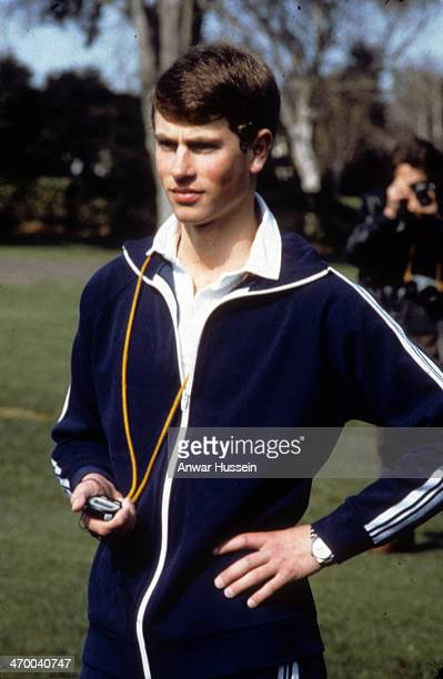 Prince Edward teaches a games lesson at the Wanganui Collegiate School where he is spending two terms as a junior master during his gap year on...