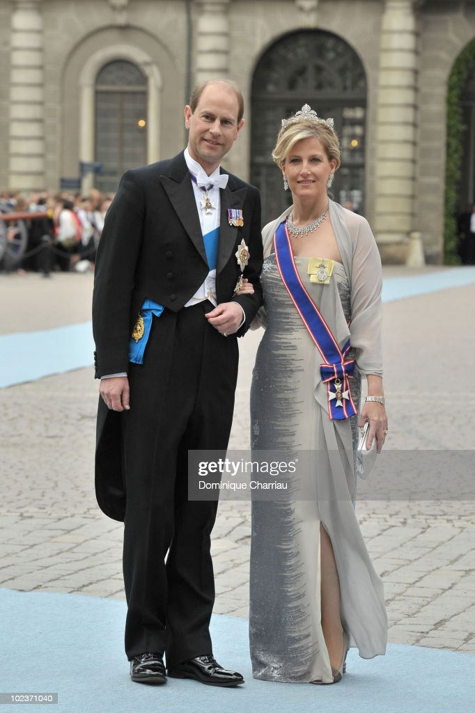 Prince Edward, the Earl of Wessex and Princess Sophie, the Countess of Wessex attend the wedding of Crown Princess Victoria of Sweden and Daniel Westling on June 19, 2010 in Stockholm, Sweden.