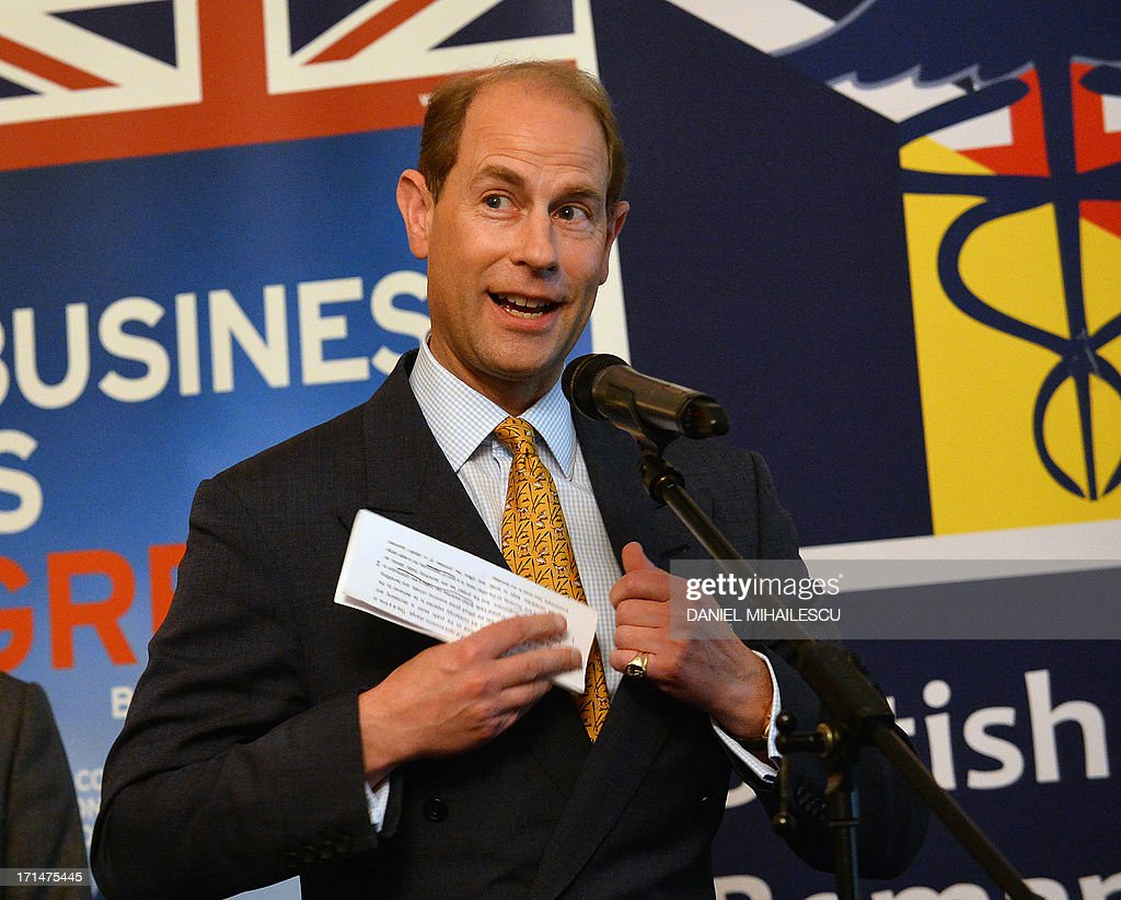 Prince Edward the Earl of Wessex delivers a speech at the launch of the British Business Portal, a project to bring new British business to Romania in Bucharest on June 15, 2013. The British Business Portal is a networking platform, focusing on offering information on various sectors of the Romanian economy: business opportunities, events, requests for partnerships, how to do business and relevant legislation.