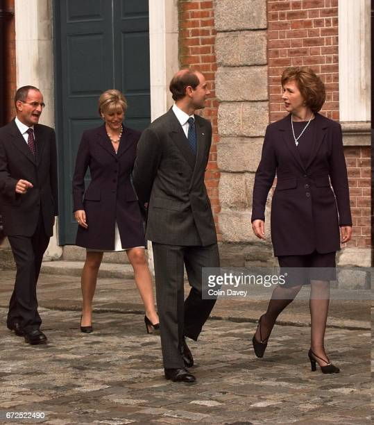 Prince Edward the Earl of Wessex joins the President of Ireland Mary McAleese followed by his wife Sophie Countess of Wessex and Dr Martin McAleese...