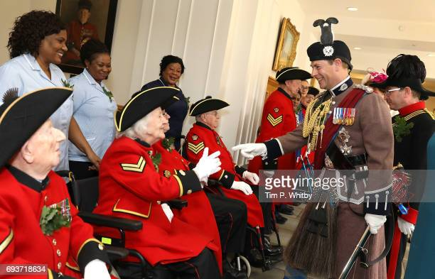 Prince Edward The Earl of Wessex reviews the Chelsea pensioners at the annual Founder's Day Parade at Royal Hospital Chelsea on June 8 2017 in London...