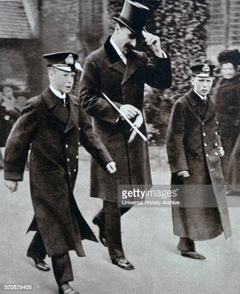 Prince Edward VIII and his young brother at Dartmouth Naval college welcoming Alexander Prince Teck their mothers brother