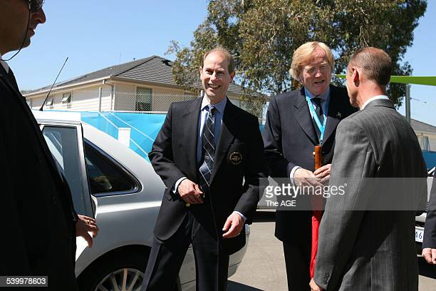 Prince Edward visits the Athletes' Village with Commonwealth Games chairman Ron Walker and former marathon runner Steve Moneghetti Melbourne 11 March...