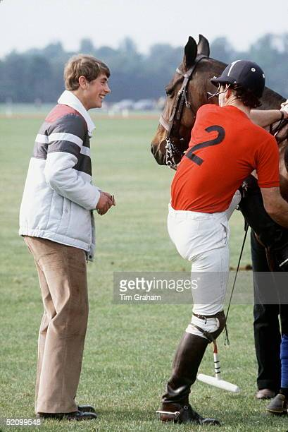 Prince Edward Wearing An Anorak At Polo At Smiths Lawn Windsor With His Brother Prince Charles