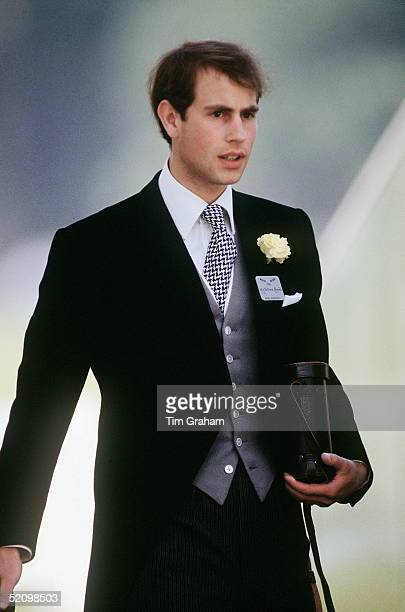 Prince Edward Wearing Tails And His Ascot Badge At Polo After Ascot Carrying His Binoculars
