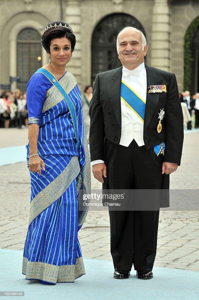 Prince El Hassan bin Talal of Jordan and Princess Sarvath El Hassan of Jordan attend the wedding of Crown Princess Victoria of Sweden and Daniel Westling on June 19, 2010 in Stockholm, Sweden.