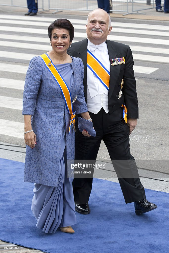 Prince El Hassan bin Talal of Jordan, and Princess Sarvath El Hassan of Jordan arrive at the Nieuwe Kerk in Amsterdam for the inauguration ceremony of King Willem Alexander of the Netherlands, on April 30, 2013 in Amsterdam, Netherlands.