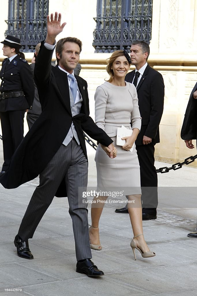 Prince Emmanuel de Savoie and <a gi-track='captionPersonalityLinkClicked' href=/galleries/search?phrase=Clotilde+Courau&family=editorial&specificpeople=171279 ng-click='$event.stopPropagation()'>Clotilde Courau</a> during the wedding ceremony of Prince Guillaume Of Luxembourg and Countess Stephanie de Lannoy at the Cathedral of our Lady of Luxembourg on October 20, 2012 in Luxembourg, Luxembourg. The 30-year-old hereditary Grand Duke of Luxembourg is the last hereditary Prince in Europe to get married, marrying his 28-year old Belgian Countess bride in a lavish 2-day ceremony.