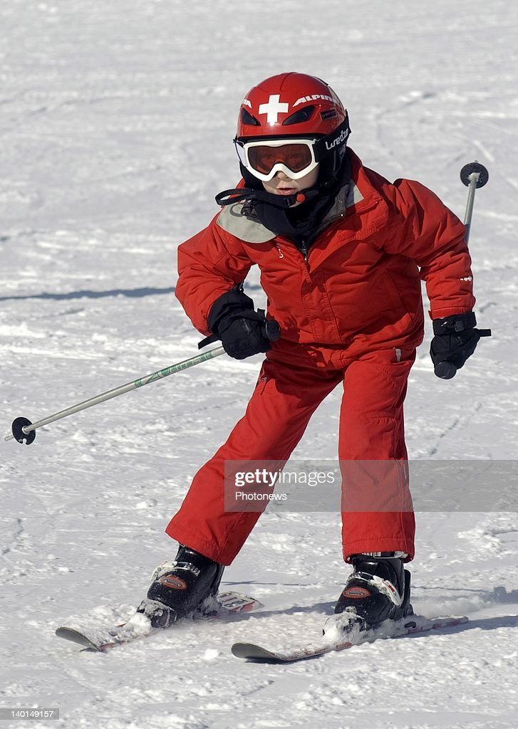 VERBIER , SWITZERLAND - FEBRUARY 22, 2012: Prince Emmanuel in action on the ski slopes during the Royal Family Skiing Holiday on February 22,2012 in Verbier,Switzerland.