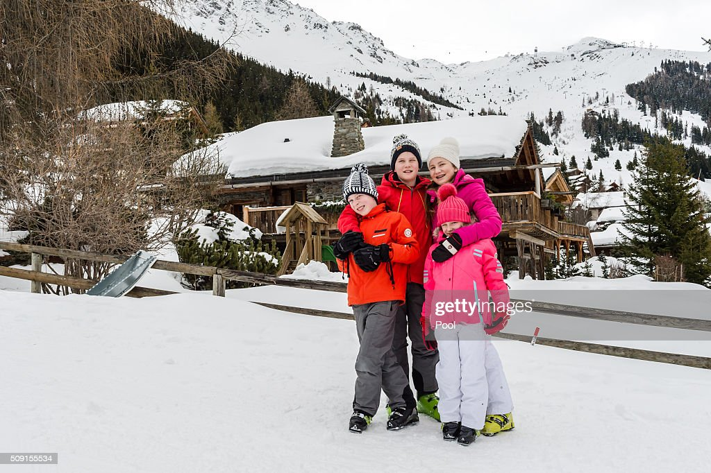 Prince Emmanuel of Belgium, Prince Gabriel of Belgium, Princess Elisabeth, Duchess of Brabant and Princess Eléonore of Belgium pose for photographs during their family skiing holiday on February 08, 2016 in Verbier, Switzerland.