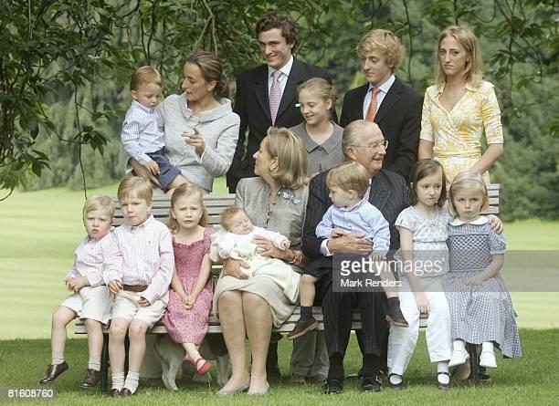 Prince Emmanuel of Belgium Prince Gabriel of Belgium Princess Elisabeth of Belgium Queen Paola of Belgium holding baby Princess Eleonore of Belgium...