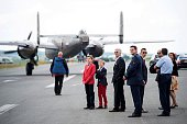 Prince Emmanuel Prince Gabriel and King Philippe Filip of Belgium visit the Belgian Air Force Days at the military base in Florennes on June 25 2016...