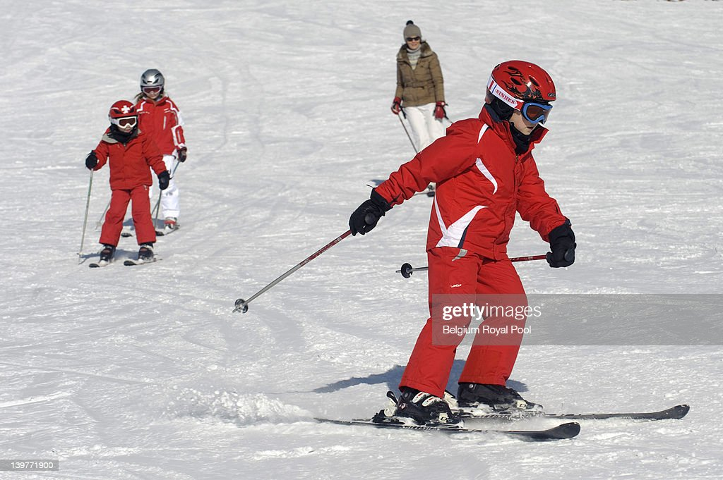 Prince Emmanuel, Prince Gabriel, Princess Elisabeth and Princess Mathilde of Belgium pictured during their skiing holiday on February 17, 2012 in Verbier, Switzerland.