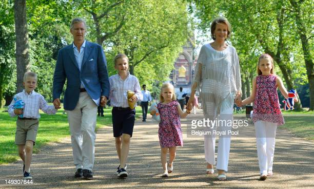 Prince Emmanuel Prince Philippe Prince Gabriel Princess Eleonore Princess Mathilde and Princess Elisabeth of Belgium pose for a photo during a visit...