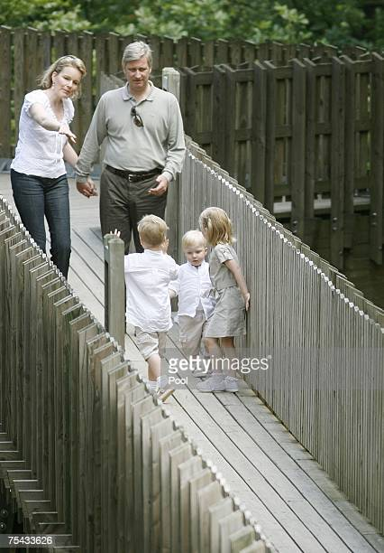 Prince Emmanuel Prince Philippe Princess Elisabet Prince Gabriel and Princess Mathilde of Belgium walk in Park Chlrophylle on July 16 in Dochamps...