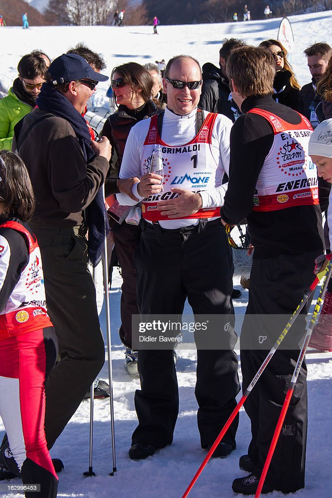 Prince Emmanuel-Philibert of Savoy (R), SAS Prince Albert II of Monaco (C) and Prince Serge of Yugoslavia (L) attend the Biatlhon Charity Ski Race To Collect Donations For 'Star Team For The Children MC' on March 2, 2013 in Limone, Italy.