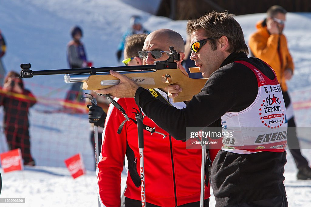 Prince Emmanuel-Philibert of Savoy shoots during the Biatlhon Charity Ski Race To Collect Donations For 'Star Team For The Children MC' on March 2, 2013 in Limone, Italy.