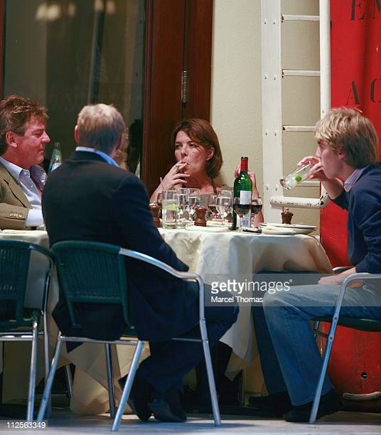 Prince Ernest of Hanover with wife Princess Caroline of Hanover sighting having lunch with their sons Prince Pierre Casiraghi and Prince Andrea...