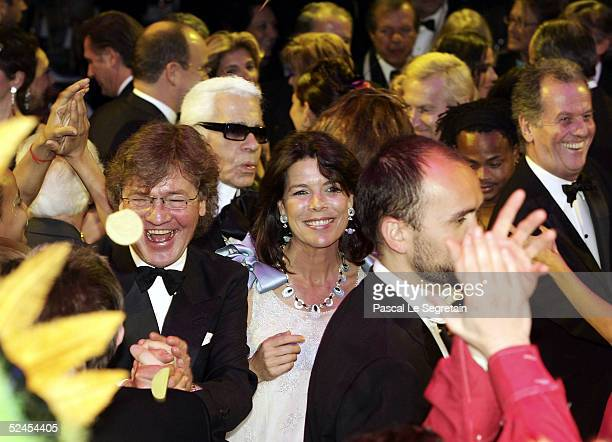 Prince Ernst August Designer Karl Lagerfeld and Princess Caroline of Hanover dances at the Rose Ball 2005 at The Sporting Monte Carlo on March 19...