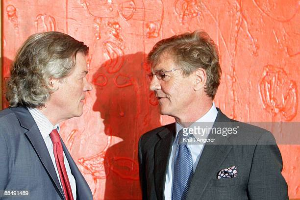 Prince Ernst August of Hannover and his lawyer Hans Wolfgang Euler speak at the county court of Hildesheim on June 15 2009 in Hildesheim Germany In...