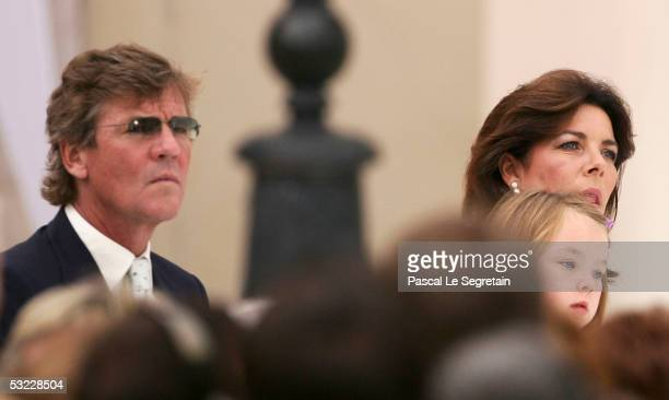 Prince Ernst August of Hanover his wife Princess Caroline of Monaco and their daughter Princess Alexandra attend a reception for Monegasque citizens...