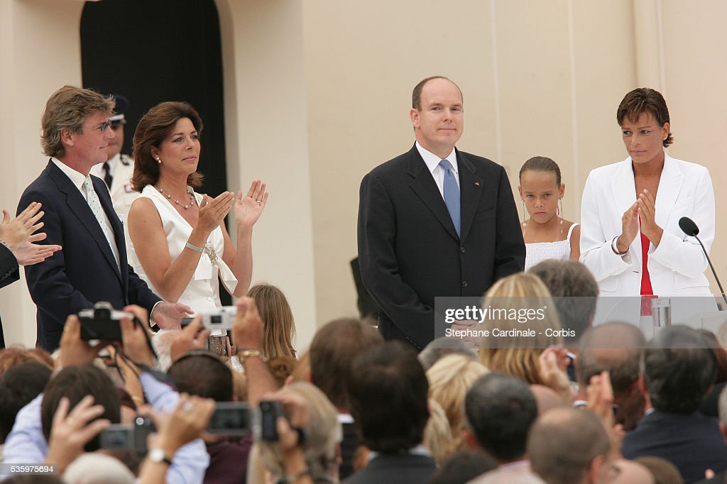 Prince Ernst August of Hanover, Princess Caroline of Hanover and Princess Stephanie of Monaco attend Prince Albert II's key ceremony following his coronation mass held in the morning.