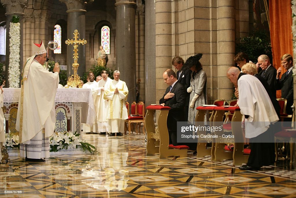 Prince Ernst August of Hanover, Princess Caroline of Hanover, Prince Albert II of Monaco and his sister Princess Stephanie of Monaco attend the enthronement mass in Monaco Cathedral. Prince Albert II, 47, took over as ruler of the principality following the death of his father, Prince Rainier in April.
