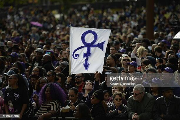 Prince fans attend the City of Los Angeles Memorial Tribute for Prince Rogers Nelson at Los Angeles City Hall on May 6 2016 in Los Angeles California