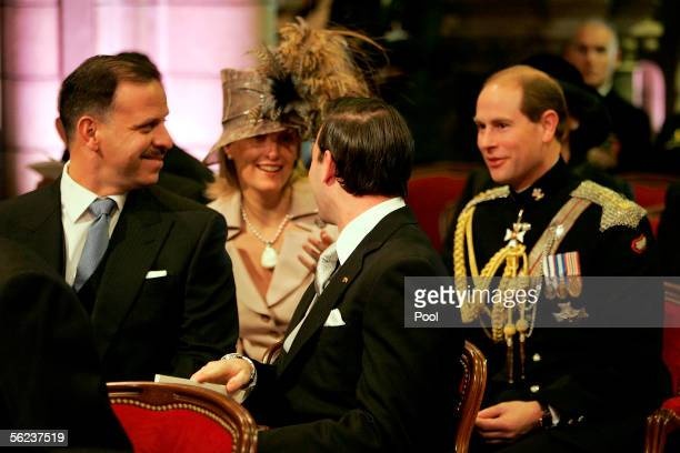 Prince Feisal Bin Al Hussein of Jordan Sophie RhysJones Countess of Wessex Guillame of Luxemburg and Prince Edward Earl of Wessex attend Mass in the...
