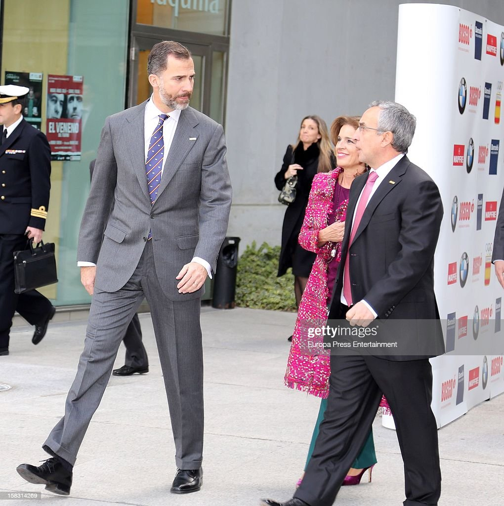 Prince Felipe, <a gi-track='captionPersonalityLinkClicked' href=/galleries/search?phrase=Ana+Botella&family=editorial&specificpeople=235432 ng-click='$event.stopPropagation()'>Ana Botella</a> and Alejandro Blanco attend Spanish Olympic Commitee Centenary Gala at El Canal Theatre on December 12, 2012 in Madrid, Spain.