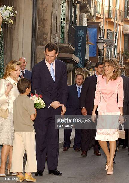 Prince Felipe and 3 Months pregnant Princess Letizia visit the Baleares Islands Parliament Building during the first day of their one week Official...