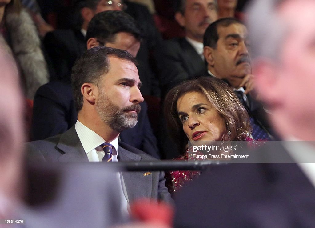 Prince Felipe and <a gi-track='captionPersonalityLinkClicked' href=/galleries/search?phrase=Ana+Botella&family=editorial&specificpeople=235432 ng-click='$event.stopPropagation()'>Ana Botella</a> attend Spanish Olympic Commitee Centenary Gala at El Canal Theatre on December 12, 2012 in Madrid, Spain.