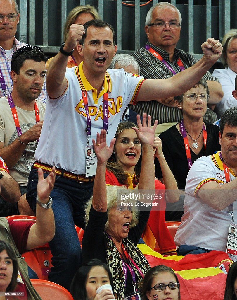 Prince Felipe and Crown Princess Letizia of Spain celebrate during the Women's Handball Bronze medal match between Spain and Korea on Day 15 of the London 2012 Olympics Games at Basketball Arena on August 11, 2012 in London, England.
