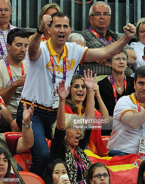 Prince Felipe and Crown Princess Letizia of Spain celebrate during the Women's Handball Bronze medal match between Spain and Korea on Day 15 of the...