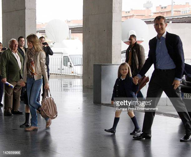 Prince Felipe and Letizia of Spain and their daughters Leonor and Sofia visit Felipe Juan Froilan at Quiron Hospital on April 10 2012 in Madrid Spain...