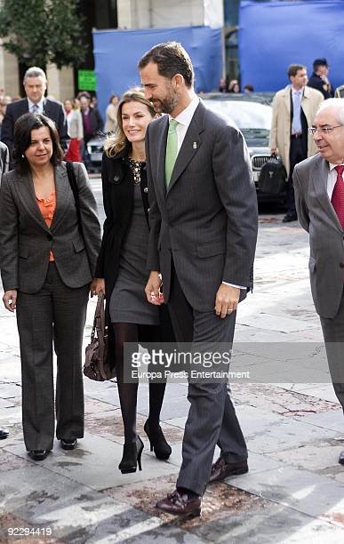 Prince Felipe and Princess Letizia arrive at the Prince of Asturias Award Ceremony on October 22 2009 in Oviedo Spain