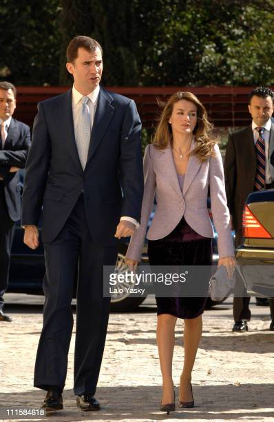 Prince Felipe and Princess Letizia arrive to Social Enterprises Foundation Awards Ceremony in Madrid Spain on March 7 2006The Royal Couple was...