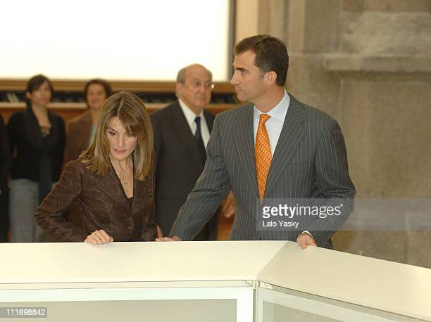 TRH Prince Felipe and Princess Letizia attend the opening of Museo del Prado new areas on October 30 2007 in Madrid Spain