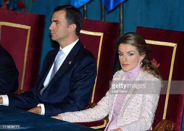 Prince Felipe and Princess Letizia during Prince of Asturias Awards Ceremony at the Campoamor Theatre in Oviedo at Campoamor Theatre in Oviedo...