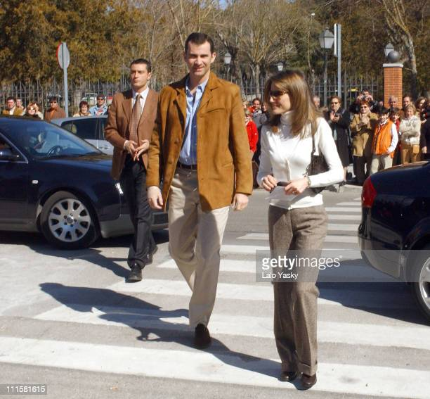 Prince Felipe and Princess Letizia during Spanish Royals Vote at European Constitution Referendum February 20 2005 at 'Monte El Pardo' Public School...